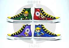 Legend Of Zelda Four Swords Adult / Youth Hand Painted High Tops. $137,00, via Etsy.