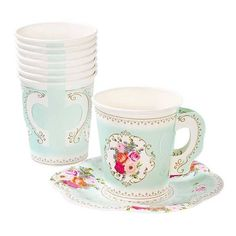 The lovely Truly Scrumptious teacups and saucers are the perfect addition to your tea time table, delighting your guests! Each pack contains 12 paper cups and s
