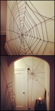Riesen Spinnennetz - Halloween Deko ganz einfach mit schwarzem Faden selber machen *** DIY Very Cheap and Easy Yarn Spiderweb Tutorial from Crafty Lumberjacks. For the cost of a cheap skein of yarn, transform the interior of your house or apartment. Soirée Halloween, Adornos Halloween, Manualidades Halloween, Halloween Birthday, Holidays Halloween, Halloween Cosplay, Diy Halloween Games, Halloween Face Mask, Outdoor Halloween