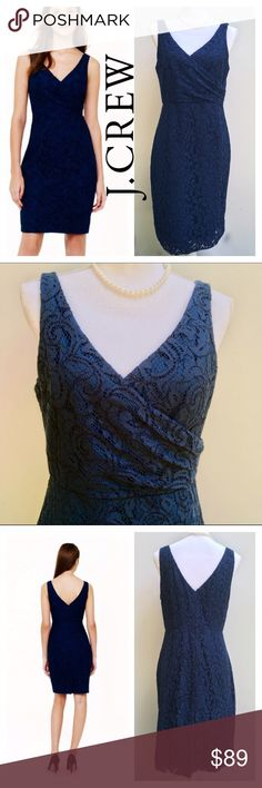 J. Crew Navy Sara Leavers Lace Dress Gorgeous size 10 navy J. Crew Sara Leavers Lace Dress! Corded leavers lace sourced from a sixth-generation family owned mill in Rhode Island. Streamlined silhouette and a cinched waist. Falls above knee. Cotton, viscose, and nylon. Back zip. Lined. Tags and labels marked through, by manufacturer, to prevent returns. ***please note there is a slight pick on the inner lining. Otherwise excellent pre-owned condition. This is a stunning dress!  🎀Search my…