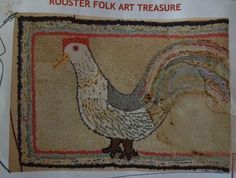 Antique Reproduction Hand Hooked Full Size Rooster Rug Pattern