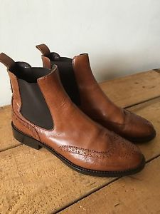 UK SIZE 5.5 WOMENS RUSSELL AND BROMLEY BROWN LEATHER BROGUE STYLE CHELSEA BOOTS | eBay