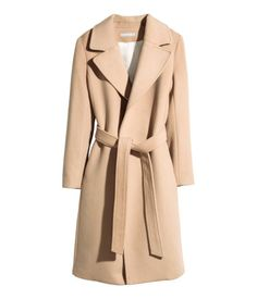 {Wool Blend Wrap Coat in Camel - H&M}