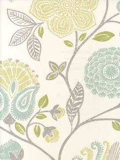 Yellow, gray, teal stylized floral wallpaper