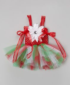 Take a look at this Bride and Babies Red & Green Flower Tutu Dress & Clip - Infant, Toddler & Girls on zulily today!