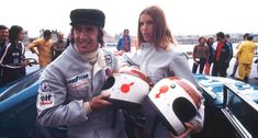 The famous couple is proudly showing off their matching crash helmets, featuring the band of Royal Stewart tartan and bright red gender symbols. But contrary to how it appears, Stewart won't be partnered by his childhood sweetheart for the race, rather his Tyrell Formula 1 teammate François Cevert. Lured to the European Touring Car Championship by lucrative sponsorship and starting/prize money – and not least the chance to partner his teammate in the dominant Works Ford Cologne Capri – t...