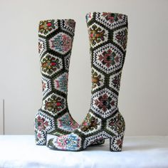 Tapestry Boots NOS Shoes 60s Boots Multi Color Needlepoint Tall Boots 9.5 N on Etsy, $278.00