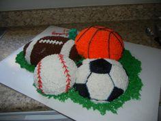 sports ball cake. soccer ball, baseball, basketball, and football.
