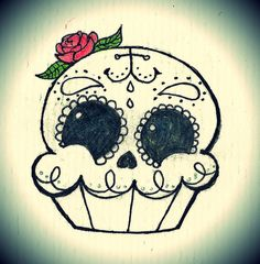Um. This is perfect. I've been wanting a sugar skull tattoo and a cupcake tattoo. Now they can be one.