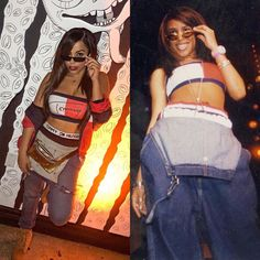 UltimateAaliyah — Team Aaliyah y'all showed up and showed out for. Aaliyah Costume, Aaliyah Outfits, Aaliyah Style, 2000s Fashion Trends, 90s Fashion, Fashion Outfits, 90s Party Outfit, 90s Outfit, Hip Hop Outfits