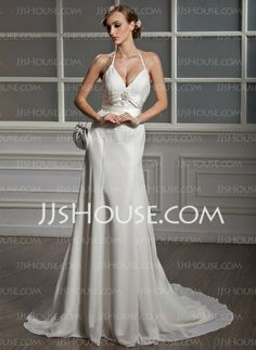 Wedding Dresses - $168.99 - A-Line/Princess V-neck Chapel Train Chiffon  Charmeuse Wedding Dresses With Lace  Beadwork (002001705) http://jjshouse.com/A-line-Princess-V-neck-Chapel-Train-Chiffon-Charmeuse-Wedding-Dresses-With-Lace-Beadwork-002001705-g1705