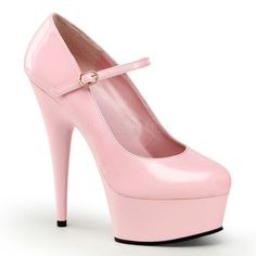 Delight 687 Baby Pink Patent 5 3/4 Inch Stiletto Heeled Platform Mary-Jane Court Shoes