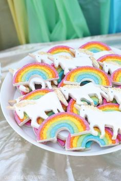 Unicorn Party ~ unicorn cookies from Craftiness is not Optional Rainbow Party Decorations, Rainbow Parties, Rainbow Birthday Party, Unicorn Birthday Parties, Unicorn Party, 5th Birthday, Halloween Decorations, Birthday Ideas, Unicorn Cookies