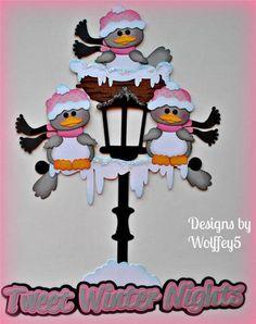 WINTER BIRDS paper piecing premade scrapbook page album kit Christmas Cards To Make, Christmas Paper, Christmas Signs, Christmas Crafts, Scrapbook Paper Crafts, Scrapbook Pages, Mushroom Crafts, Paper Piecing Patterns, Christmas Scrapbook