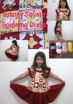 Granny Square Spinning Dress – Free Crochet Pattern & tutorials by Meladora's Creations