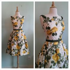 Hey, I found this really awesome Etsy listing at https://www.etsy.com/listing/176770941/yellow-rose-1950s-vintage-party-dress