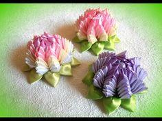 """Как сделать цветок из репсовой ленты 4см, лепесток """"Сердечко"""", МК #53 - YouTube"""