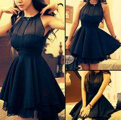 Black Plain Grenadine Irregular Backless Chiffon Dress - Dresses
