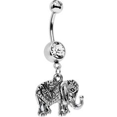 Clear Gem Bring Me to Bali Elephant Dangle Belly Ring