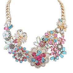 The Starry Night Gold Color Chain Fashion Crystal Style Pink Flower Noble Necklace Suitable Womens And Girls *** Check out the image by visiting the link.