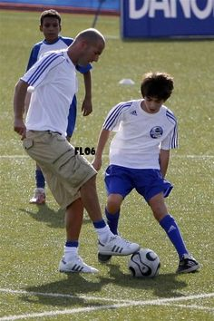 Zizou and son Enzo Zidane. How lucky his sons are to have the best coach!