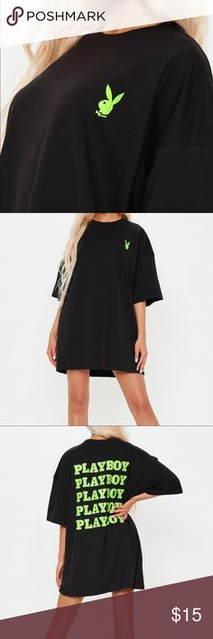 Playboy x Missguided oversized slogan Tshirt dress New with tags  US 4 UK 8  A black t shirt dress with playboy logo embroidered on front and green playboy print repeated on back Missguided Dresses
