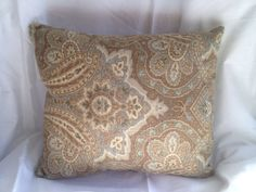 Blue Green and Brown Paisley Throw Pillow by PillowFinds on Etsy, $25.00