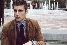 plaid shirt and carmel brown blazer