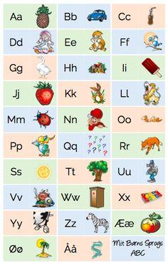 Alfabet tavle til førskolebørnene - Bogstaver og billeder