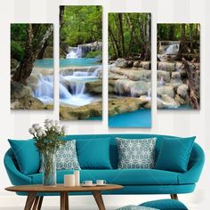 30×60×2+30×80×2 Canvas Waterfall Painting Tree Scenery Painting Nature Pictures Cuadros Wall Art Home Decor For Living Room Unframed PRL1020
