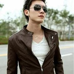 Jaket Kulit Korean Style Cokelat