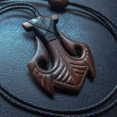 Just finished this anchor style Hei Matau for Wooden Necklace, Wooden Jewelry, Wood Stone, Bone Carving, Bijoux Diy, Whittling, Schmuck Design, Dremel, Leather Craft