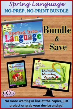 This is a NO-PREP, NO-PRINT BUNDLE that includes three complete Spring themed language lessons.  They are all full-color with vibrant images for fun, engaging instruction.  They display nicely on interactive whiteboards, speech teletherapy platforms, tablets/iPads, or smartphones.  No more waiting in line at the copier, just project for whole group instruction or grab your device and go for small group and literacy centers!