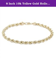 8 Inch 10k Yellow Gold Hollow Rope Chain Bracelet and Anklet for Men & Women, 6mm. This Beautiful Chain represents elegance and superiority . The chain features a hollow rope crafted of fine 10k yellow gold and closes with a lobster clasp . Although it is lightweight, the chain is notably sized and , looks attractive . Dress it up or down for everyday wear and for any occasion. 10k gold does not react with other elements and is durable, which makes it suitable for daily use , and could be...