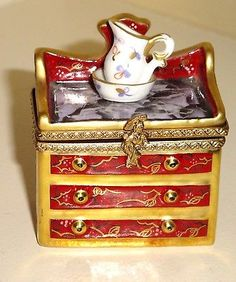 Rochard Limoges Hand Painted CHEST OF DRAWERS Porcelain Hinged Trinket Box