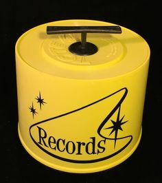 Vintage 60s 70s 45rpm Record Plastic Tune Tote 45 Carrier Case Starburst Yellow