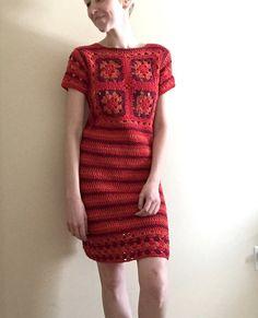 Vestido de crochet rojo por TessaPerlowInc en Etsy