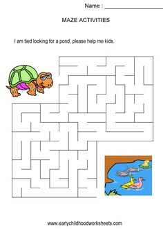 Turtle to pond maze (kids activity, visual skills, hand-eye coordination)