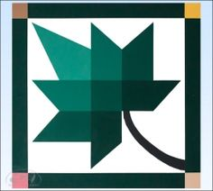 Green Leaf Barn Quilt - 2 foot square