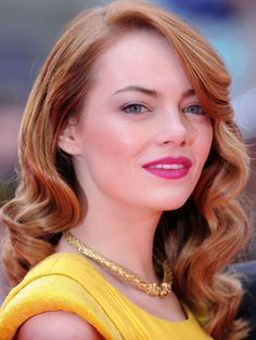 Emma Stone: Old Hollywood waves with fuchsia lipstick http://beautyeditor.ca/2014/04/22/emma-stone-hair-and-makeup/