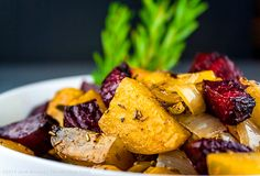 The perfect side dish or vegetarian main course - Rosemary Roasted Beets, Potatoes and Peppers #SummerFest - The Heritage Cook ®