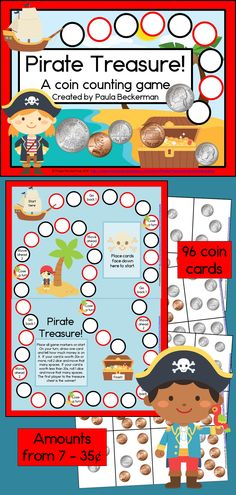 Your students will love counting money in this fun, pirate themed game, as they race their pirates along a trail to the treasure chest! Easy ideas for differentiating and full instructions are included! TpT $
