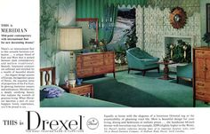 Drexel Meridian Furniture MID-POINT CONTEMPORARY Dresser LIVING ROOM 1963 Ad #Drexel