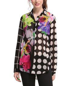 Black & White Polka Dot Floral Button-Up #zulily #zulilyfinds