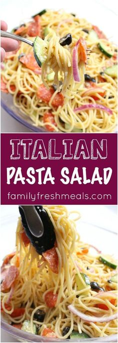 Italian Pasta Salad Recipe - Family Fresh Meals The latest recipes and sweet suggestions. Vegetable Pasta Salads, Vegtable Salad, Broccoli Pasta, Fettucine Alfredo, Spaghetti Salad, Pasta Salad Italian, Family Fresh Meals, Cooking Recipes, Healthy Recipes