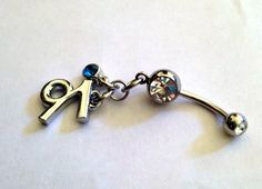 Customized Belly Ring - Birthstone & Zodiac Symbol by @justByou, $10.00 (special intro pricing)  #handmade #shopjustByou