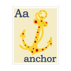 Children's Wall Art / Nursery Decor A is for Anchor by KZukowski