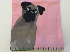 Anthropologie Farm Dog Cat Pink Dishtowel Holly Frean New Farmhouse Kitchen  #Anthropologie