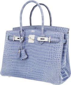 Hermes 30cm Shiny Blue Brighton Porosus Crocodile Birkin Bag withPalladium Hardware. ...