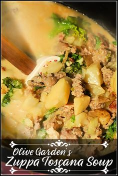 When we can't make it to Olive Garden I make a big ol' pot at home of Zuppa Toscana, filled with creamy broth and potatoes, sausage, and kale. A comforting winter meal, this soup will warm you up and fill your belly!